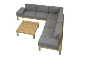 4 Seasons Outdoor Mistral teak loungeset met bijzettafel