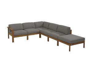 4 Seasons Outdoor Lido modulaire hoekbank teak chaise longue