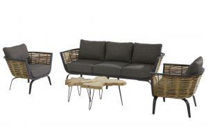 4 Seasons Outdoor Antibes loungeset stoel-bank-tafel Sumatra bijzettafel