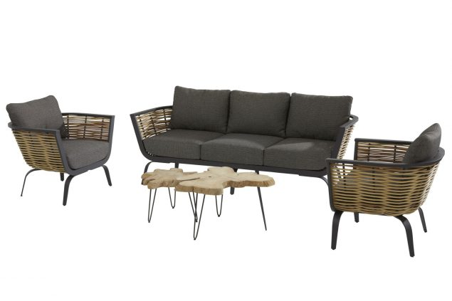 4 Seasons Outdoor Antibes loungeset stoel-bank-tafel Sumatra bijzettafel