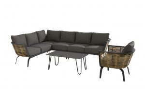4 Seasons Outdoor Antibes hoekbank loungeset met cool bijzettafel en 4 Seasons Outdoor Antibes loungestoel