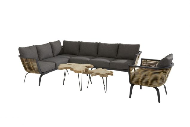 4 Seasons Outdoor Antibes hoekbank loungeset met Sumatra bijzettafel en 4 Seasons Outdoor Antibes loungestoel
