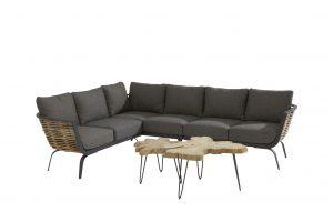 4 Seasons Outdoor Antibes hoekbank loungeset met Sumatra tafel