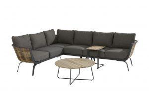 4 Seasons Outdoor Antibes loungeset hoekbank met Axel bijzettafel en support bijzettafel