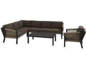 4 Seasons Outdoor Oslo loungeset hoekbank met 4 Seasons Outdoor loungestoel oslo