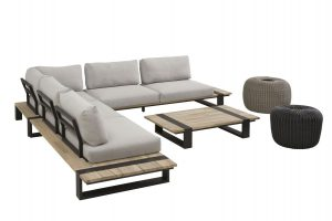 4 Seasons Outdoor Duke loungeset hoekbank met donuts antraciet en pebble