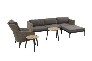 4 Seasons Outdoor Triana 3-zitsbank met chaise longue en luxor loungestoel