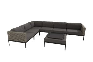 4 Seasons Outdoor Triana hoekbank loungeset louncheset met maya dienblad van het merk 4 Seasons Outdoor