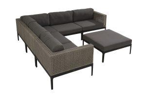 4 Seasons Outdoor Triana hoekbank louncheset loungeset met 4 Seasons Outdoor Triana voetenbank
