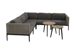 4 Seasons Outdoor Triana hoekbank loungeset louncheset met teak bijzettafels 4 Seasons Outdoor gabor