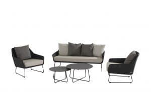 4 Seasons Outdoor Avila loungeset stoel-bank-loungeset met 2 dali salontafeltjes