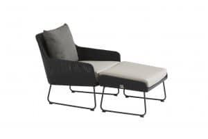 4 Seasons Outdoor Avila loungestoel antraciet met voetenbank
