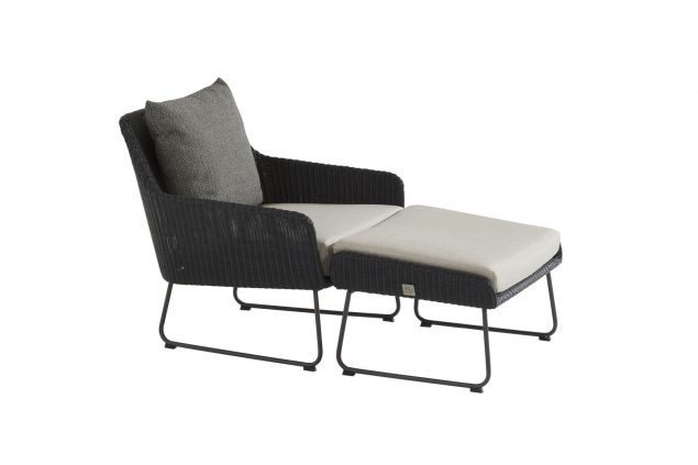 4 Seasons Outdoor Avila loungestoel antraciet met voetenbank