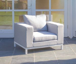Square tuin loungestoel wit all weather kussens